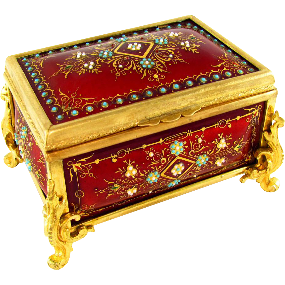Antique French Kiln-Fired Enamel Gilt Bronze Jewelry Casket Box, Raised Enamel Jewels
