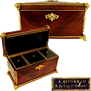 Large Antique French A. GIROUX Gilt Bronze & Wood Triple Tea Caddy, Casket