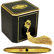 Antique TAHAN Paris Napoleon III French Ebonized Wood & Brass Inlaid Tea Caddy Box