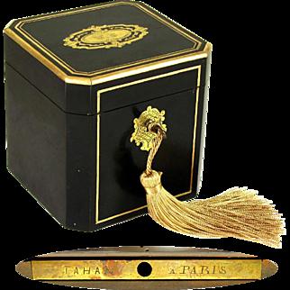 Antique TAHAN Paris Napoleon III French Ebonized Wood & Brass Inlaid Tea Caddy Box