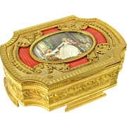 Ornate Antique French Gilt Bronze & Pink Guilloche Enamel Jewelry Box / Casket, Miniature Portrait Painting