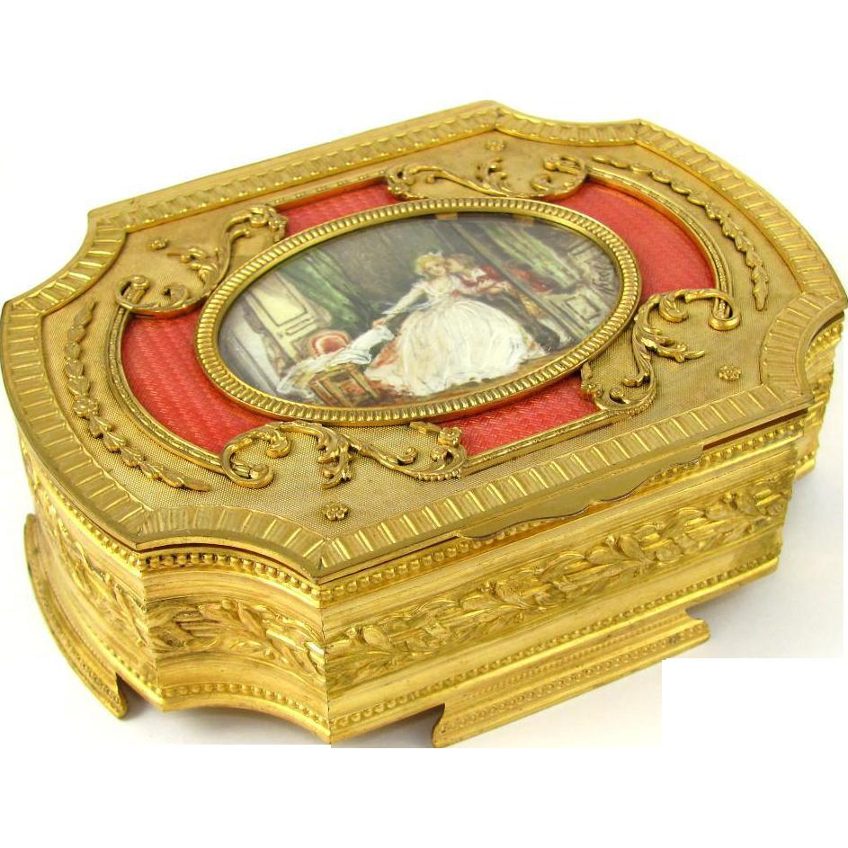 Ornate Antique French Gilt Bronze & Pink Guilloche Enamel Jewelry Box / Casket, Miniature Portrait Painting