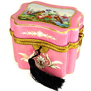 Antique 19thc French Hand Painted Opaline Glass Casket, Box with Gilt Bronze Mounts, Pink with Birds & Roses