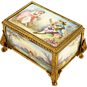 Antique French Gilt Bronze & Porcelain Jewelry Box Casket Sevres Style Hand Painted Plaques Portrait