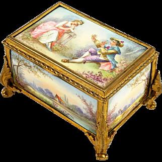 Antique French Gilt Bronze & Porcelain Jewelry Box Casket Sevres Style Hand Painted Plaques Portrait