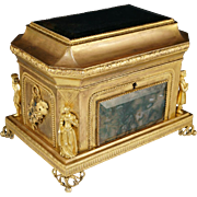 Antique French Gilt Bronze Jewelry Casket Box, Moss Agate Stone Panels, Theatrical Figures