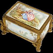 Antique 19thc French Enamel on Copper Gilt Bronze Jewelry Casket Box
