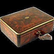 Antique Victorian Burl Wood Inlaid Jewelry Box, 'Hidden' Side Drawer, Lock & Key