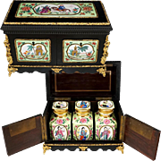Antique French Chinoiserie Tea Caddy Chest, Gilt Bronze Mounts, Hand Painted Porcelain Plaques, Porcelaine de Paris Chinese Export Famille Rose Style Tea Canisters