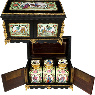 Antique French Chinoiserie Tea Caddy Chest, Gilt Bronze Mounts, Hand Painted Porcelain Plaques, Porcelaine de Paris Chinese Export Famille Rose Style Tea Canisters