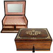 Large Antique French Scarf Box, Casket, Burl Walnut / Ebony Veneer Cashmere Chest, Brass & Pearl Inlay, Lock & Key