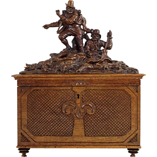 Antique Black Forest Carved Wood Box, Chest, Figural Hunters & Ibex, Lock & Key
