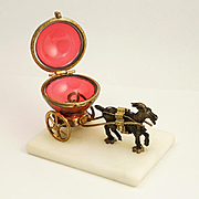 Antique French Palais Royal Trinket Box, Goat Cart & Cranberry Glass Egg