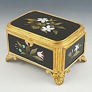 Signed Guttin Antique Pietra Dura Gilt Bronze Ormolu Jewelry Casket Box