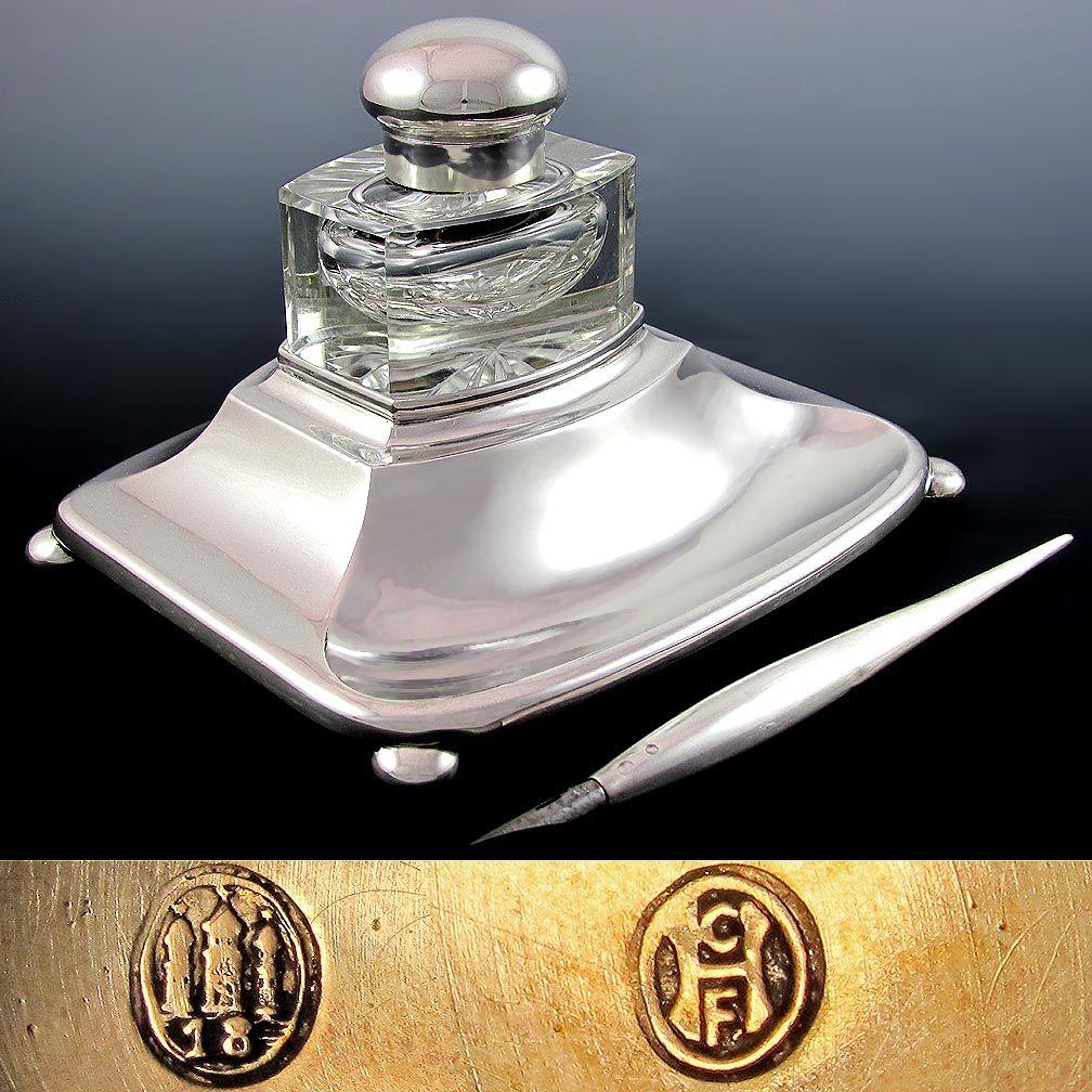 Rare Denmark Scandinavian Silver Inkwell & Dip Pen Set, Cut Crystal