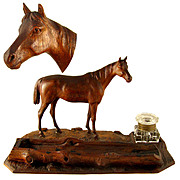 Antique Equestrian Hand Carved Wooden Figural Equestrian Horse Inkwell / Inkstand