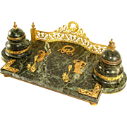 Antique French Napoleon III Empire Gilt Bronze & Green Marble Double Inkwell Inkstand