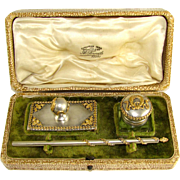 Ornate Antique French 3pc Empire Style Writing / Desk Set in Box, Cut Crystal Inkwell, Dip Pen, & Blotter