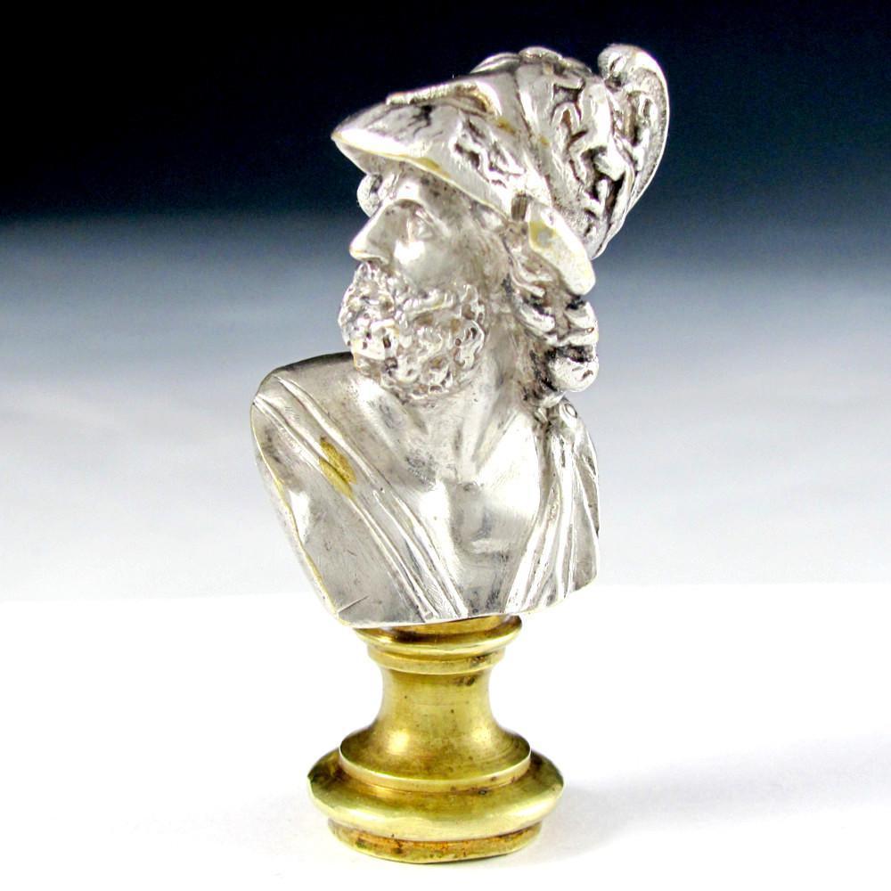 Antique French Silvered Bronze Figural Bust Wax Seal Desk Stamp, Greek Mythological, King of Sparta
