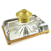 Antique French Cut Crystal & Bronze or Brass Hinged Inkwell Ink Stand
