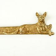 Antique French Signed Bronze Letter Opener, Dog Figural