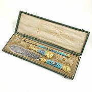 Antique French Blue Enamel Gilt Ormolu Writing Desk Set, Wax Seal, Dip Pen & Letter Opener