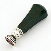 Antique Silver Wax Seal Crown Armorial Bloodstone Heliotrope Handle