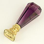 Antique Amethyst Glass Gold Filled Wax Seal Desk Stamp