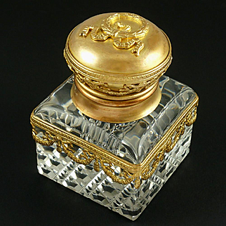Antique French Gilt Bronze & Cut Crystal Empire Style Inkwell