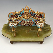 Antique French Champleve Enamel Bronze Inkstand, Inkwell, Letter Rack & Blotter