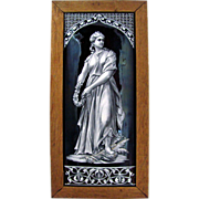 LARGE Antique 19c French Limoges Enamel on Copper Grisaille Portrait Plaque, Framed