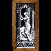 LARGE Antique 19c French Limoges Enamel on Copper Grisaille Portrait Plaque,