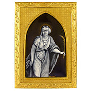 Antique French Limoges Enamel on Copper Grisaille Miniature Portrait Plaque, Gilt Bronze Frame