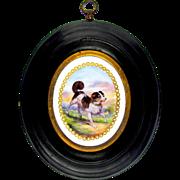 Antique French Enamel Miniature Portrait of a DOG, Raised Jewels, Framed