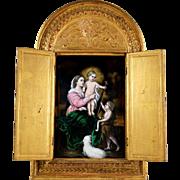 Antique French Limoges Enamel Plaque Gilt Wood Alter Triptych Religious Scene, Virgin Mary & Jesus Christ