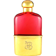 Antique English Gilt Vermeil Sterling Silver Mounted Liquor Whiskey Hip Flask, Rare Cranberry Glass