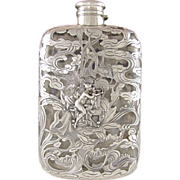 Antique Art Nouveau GORHAM Sterling Silver Overlay, Figural NUDE Lady & Cherub, Liquor Whiskey Hip Flask Bottle