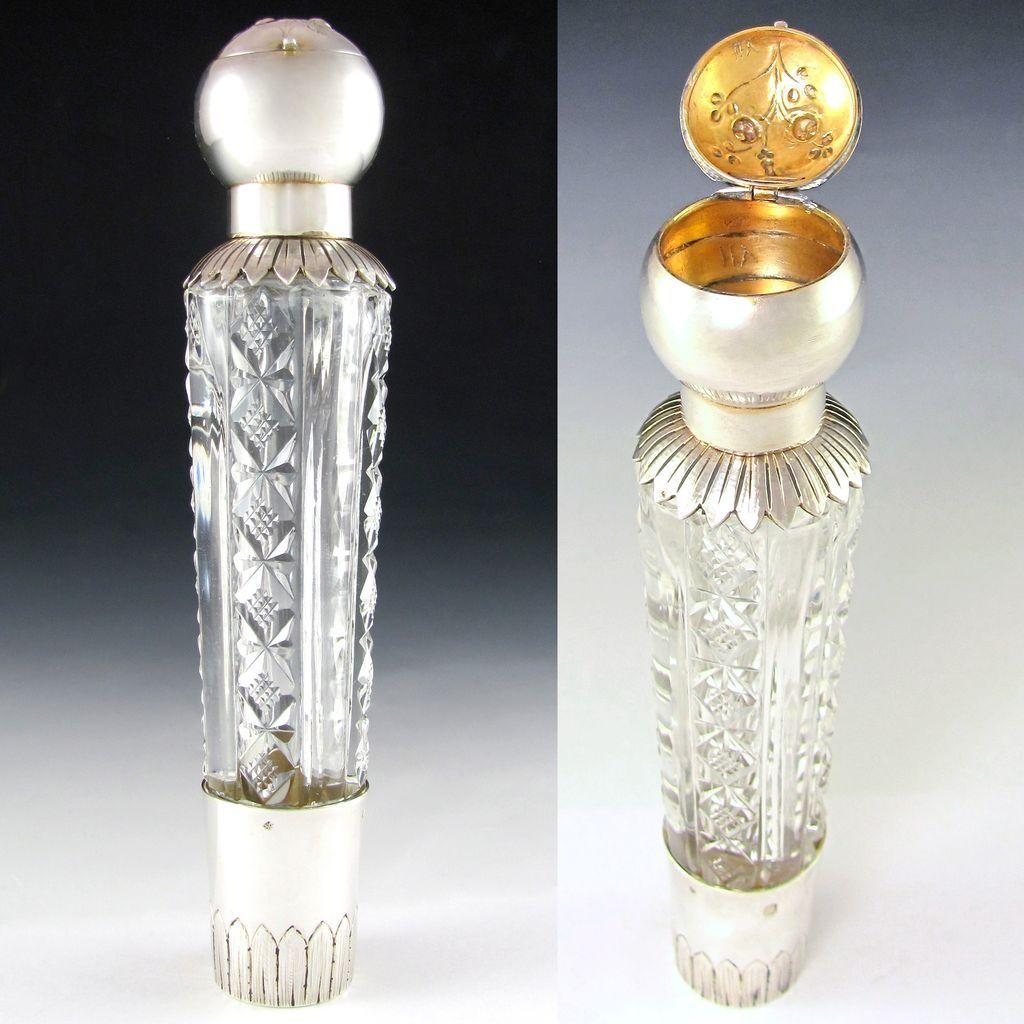 RARE Antique French Sterling Silver Cut Glass 'Spirits' Liquor Flask & Pill Box Combination