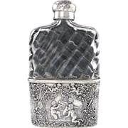 Antique German Hanau Silver Cut Glass Liquor / Whiskey Hip Flask, Repousse Cherubs, Dogs & Birds