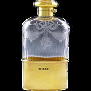 English Sterling Silver Gilt Vermeil Cut Engraved Glass Liquor Flask / Whiskey Hip Flask, London 1916