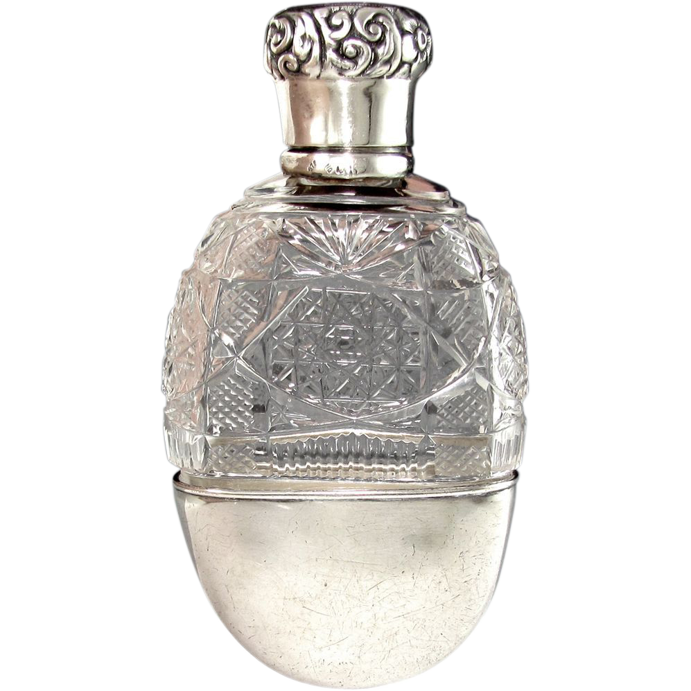 Antique Sterling Silver & ABP Cut Glass Liquor / Whisky Flask, S. Cottle & Co. of New York