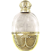 Antique French Sterling Silver Gilt Vermeil Engraved Intaglio Cut Glass Liquor Whisky Hip Flask