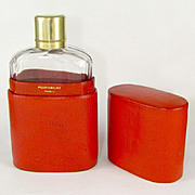 Antique French Puiforcat Sterling Silver Gilt Vermeil Cut Crystal Liquor Whiskey Hip Flask & Case