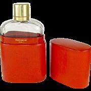 Antique French Puiforcat Sterling Silver Gilt Vermeil Cut Crystal Liquor Whiskey Hip Flask & Case