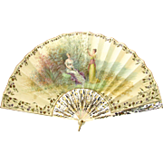 Antique French Hand Painted Vellum Mother of Pearl Fan