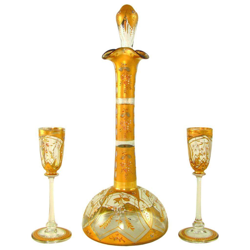 Antique 19c Bohemian Raised Enamel Gold Gilt Art Glass Liquor Service, Decanter & Cordials