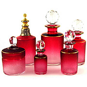Antique French 6pc Saint Louis Crystal Cameo Etched Red Cranberry to Clear Dresser / Vanity Perfume Bottle Set