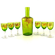 Antique French Green Cut Crystal & Raised Gold Enamel Liquor Set Decanter & Cordial Glasses