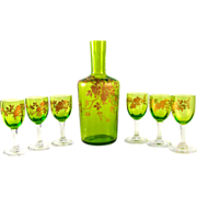 Antique French Green Cut Crystal & Raised Gold Enamel Liquor Set Decanter & Cordial Glasses