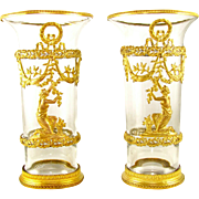 Pair Antique French Empire Baccarat Crystal Gilt Bronze Mounted Vases